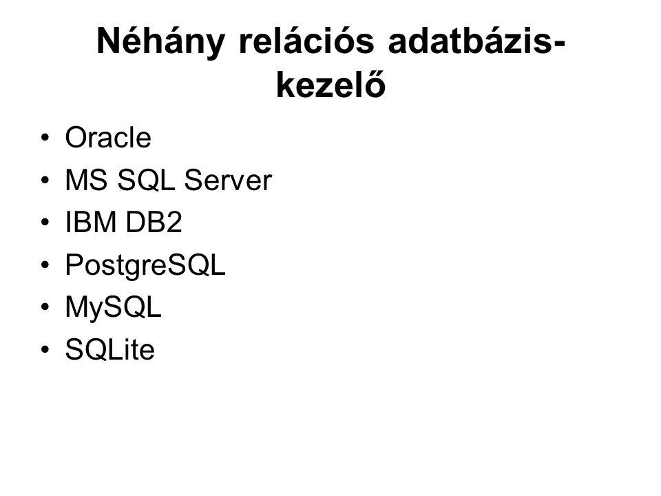 Néhány relációs adatbázis- kezelő Oracle MS SQL Server IBM DB2 PostgreSQL MySQL SQLite