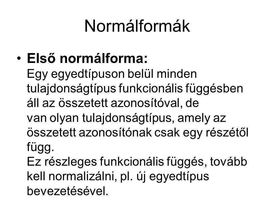 Normálformák Első normálforma: Egy egyedtípuson belül minden tulajdonságtípus funkcionális függésben áll az összetett azonosítóval, de van olyan tulaj