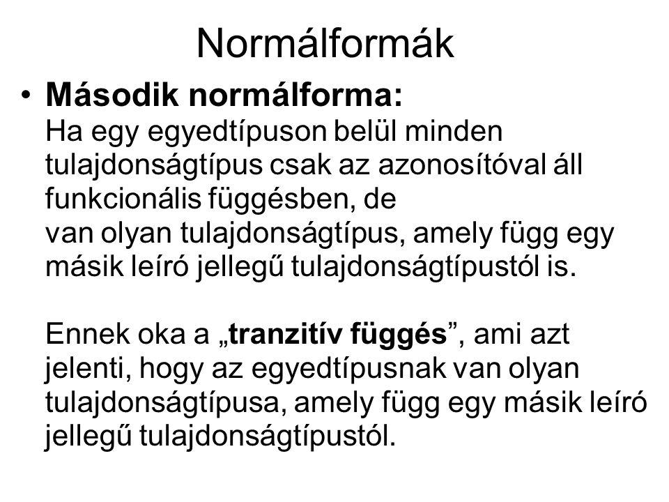 Normálformák Második normálforma: Ha egy egyedtípuson belül minden tulajdonságtípus csak az azonosítóval áll funkcionális függésben, de van olyan tula