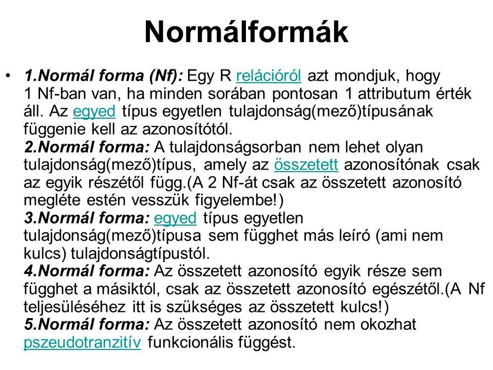 Normálformák 1.Normál forma (Nf): Egy R relációról azt mondjuk, hogy 1 Nf-ban van, ha minden sorában pontosan 1 attributum érték áll. Az egyed típus e
