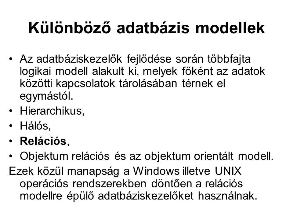 Különböző adatbázis modellek Az adatbáziskezelők fejlődése során többfajta logikai modell alakult ki, melyek főként az adatok közötti kapcsolatok táro