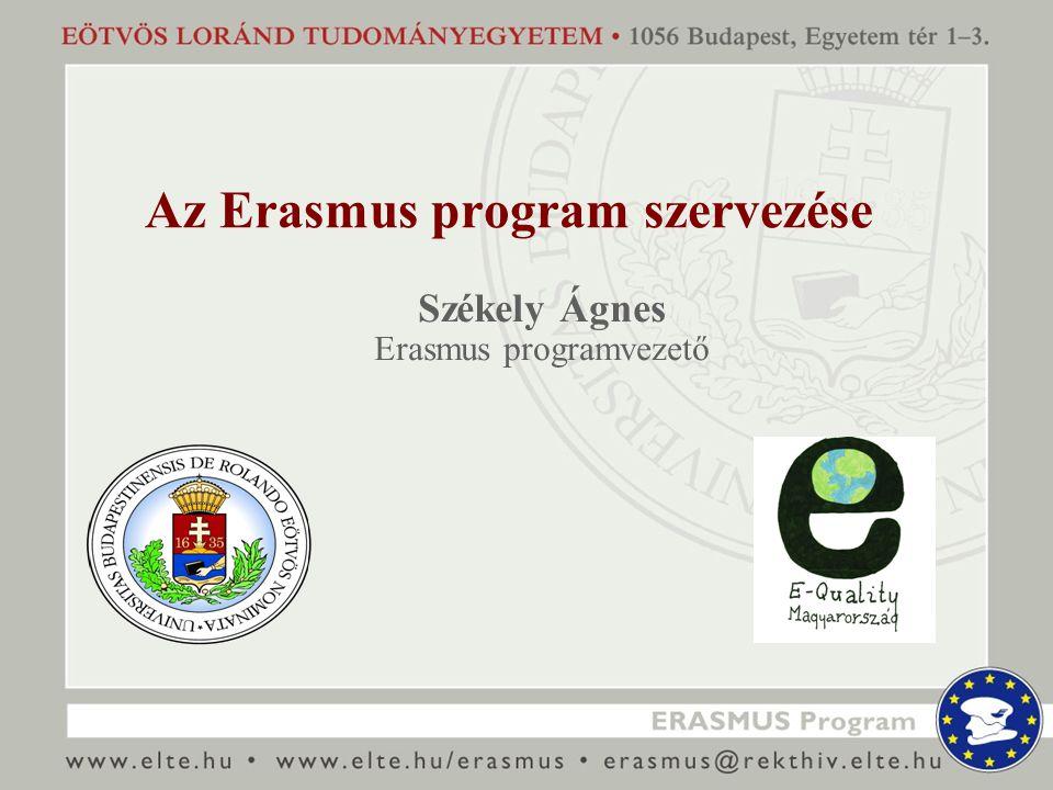 Az Erasmus program szervezése Székely Ágnes Erasmus programvezető