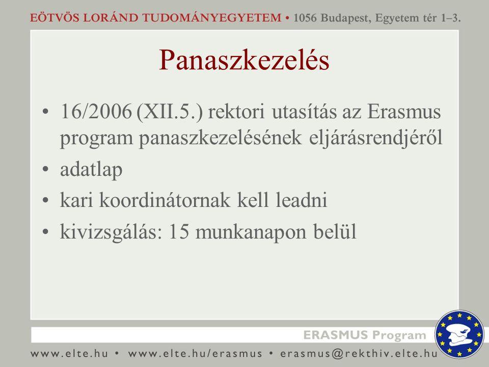 Panaszkezelés 16/2006 (XII.5.) rektori utasítás az Erasmus program panaszkezelésének eljárásrendjéről adatlap kari koordinátornak kell leadni kivizsgálás: 15 munkanapon belül