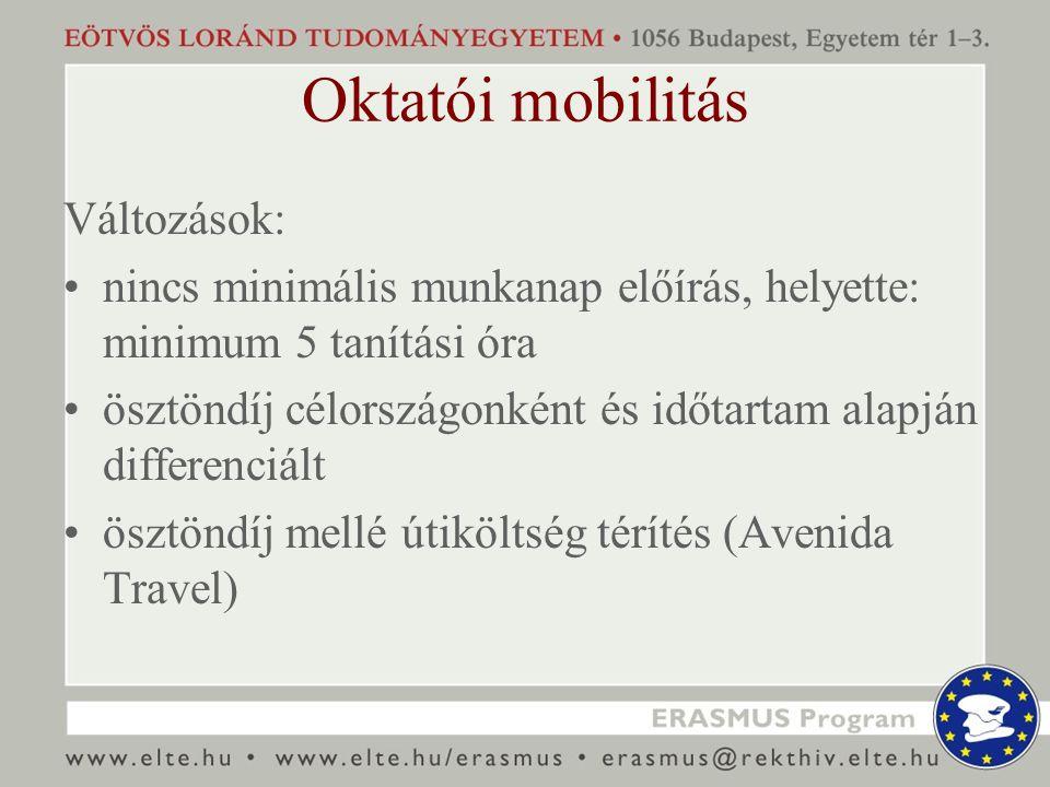 Oktatói mobilitás Változások: nincs minimális munkanap előírás, helyette: minimum 5 tanítási óra ösztöndíj célországonként és időtartam alapján differenciált ösztöndíj mellé útiköltség térítés (Avenida Travel)