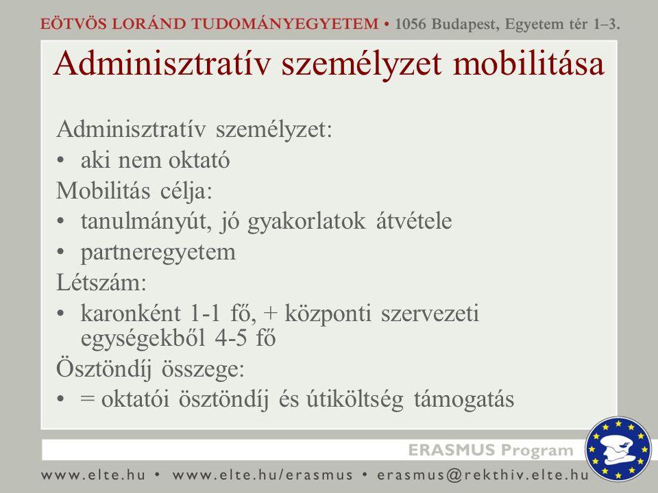 Adminisztratív személyzet mobilitása Adminisztratív személyzet: aki nem oktató Mobilitás célja: tanulmányút, jó gyakorlatok átvétele partneregyetem Létszám: karonként 1-1 fő, + központi szervezeti egységekből 4-5 fő Ösztöndíj összege: = oktatói ösztöndíj és útiköltség támogatás