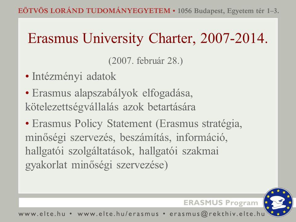 Erasmus University Charter, 2007-2014. (2007. február 28.) Intézményi adatok Erasmus alapszabályok elfogadása, kötelezettségvállalás azok betartására
