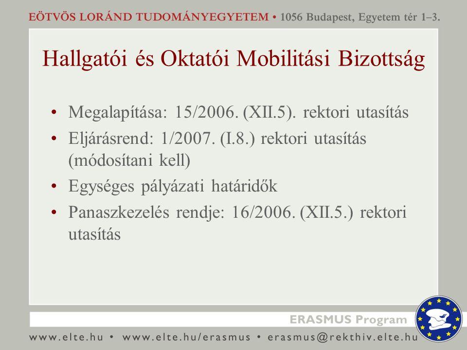 Hallgatói és Oktatói Mobilitási Bizottság Megalapítása: 15/2006. (XII.5). rektori utasítás Eljárásrend: 1/2007. (I.8.) rektori utasítás (módosítani ke