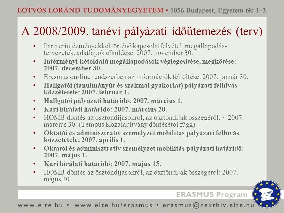 A 2008/2009. tanévi pályázati időütemezés (terv) Partnerintézményekkel történő kapcsolatfelvétel, megállapodás- tervezetek, adatlapok elküldése: 2007.