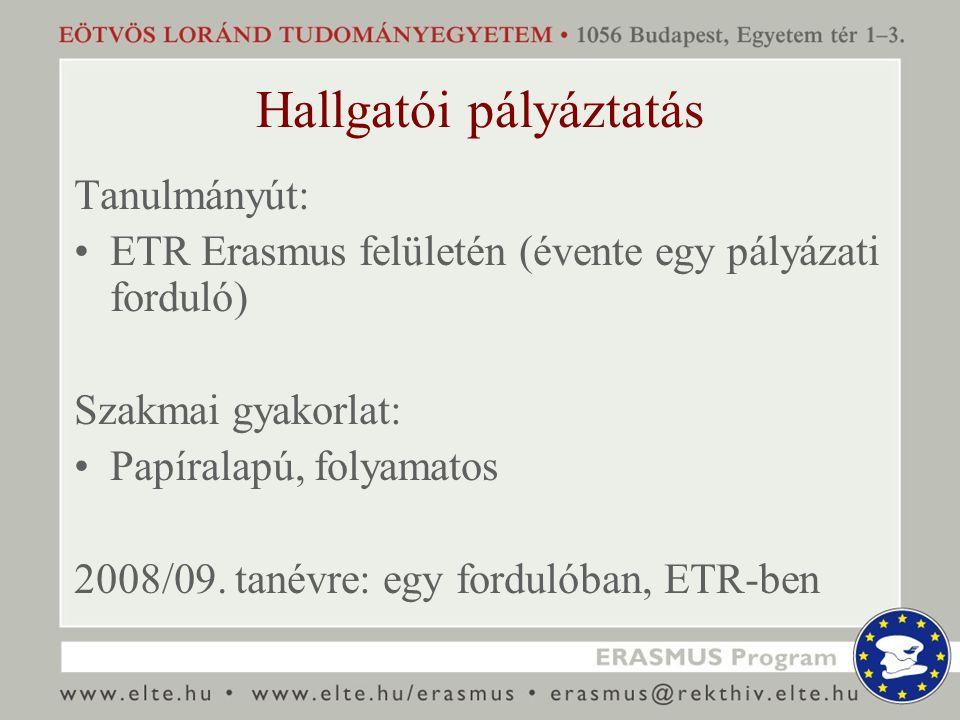 Hallgatói pályáztatás Tanulmányút: ETR Erasmus felületén (évente egy pályázati forduló) Szakmai gyakorlat: Papíralapú, folyamatos 2008/09. tanévre: eg