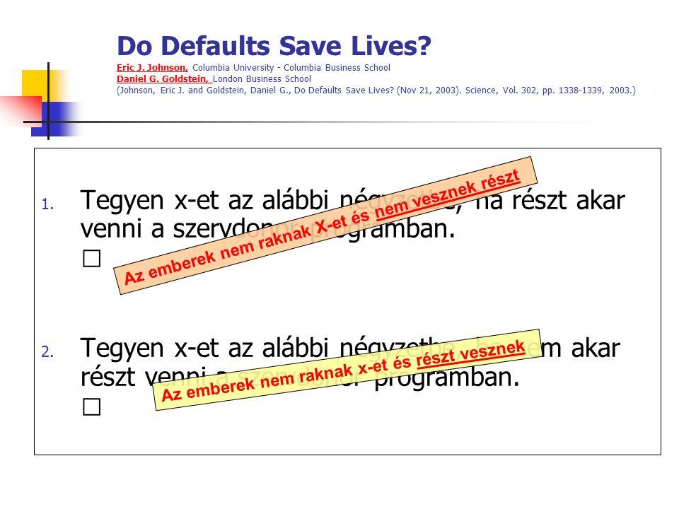 Do Defaults Save Lives? Eric J. Johnson, Columbia University - Columbia Business School Daniel G. Goldstein, London Business School (Johnson, Eric J.