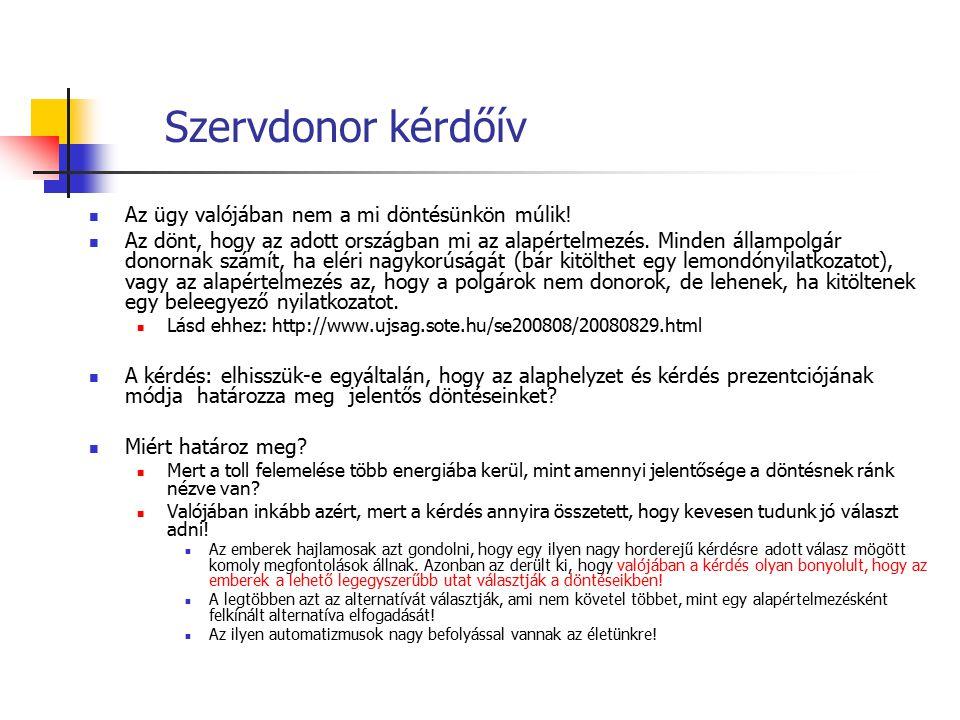 Szervdonor kérdőív Az ügy valójában nem a mi döntésünkön múlik! Az dönt, hogy az adott országban mi az alapértelmezés. Minden állampolgár donornak szá