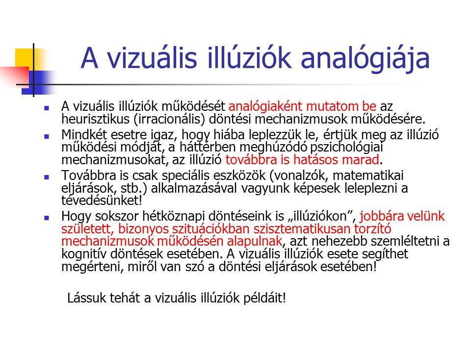 A vizuális illúziók analógiája A vizuális illúziók működését analógiaként mutatom be az heurisztikus (irracionális) döntési mechanizmusok működésére.