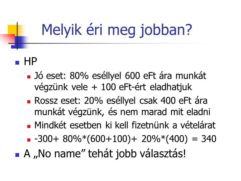 Melyik éri meg jobban? HP Jó eset: 80% eséllyel 600 eFt ára munkát végzünk vele + 100 eFt-ért eladhatjuk Rossz eset: 20% eséllyel csak 400 eFt ára mun