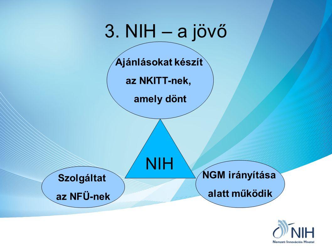 3. NIH – a jövő NIH Szolgáltat az NFÜ-nek NGM irányítása alatt működik Ajánlásokat készít az NKITT-nek, amely dönt