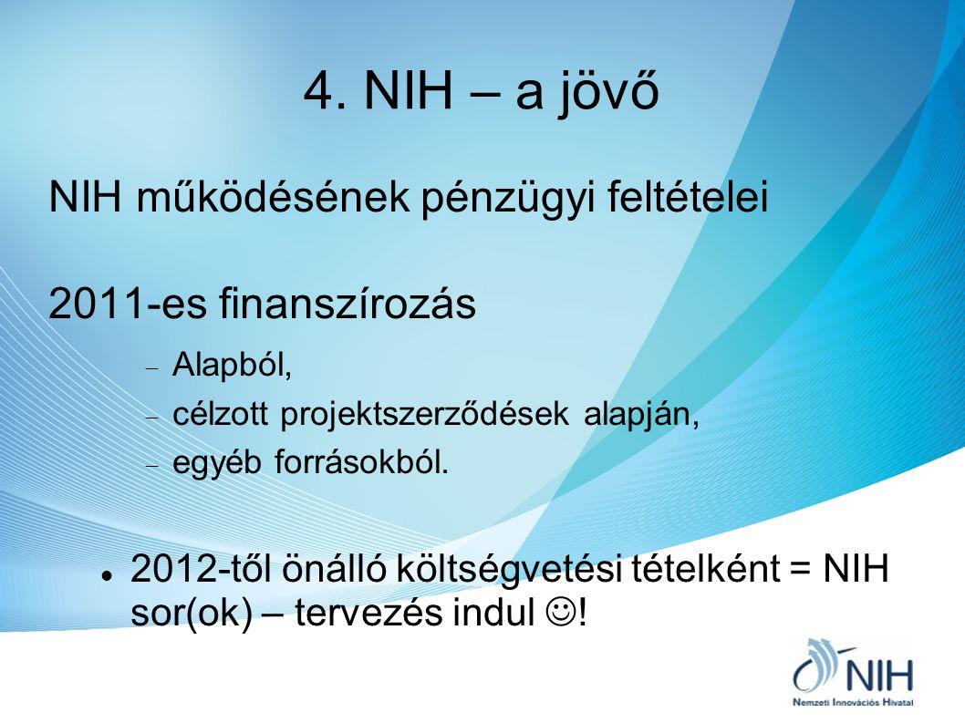 4. NIH – a jövő NIH működésének pénzügyi feltételei 2011-es finanszírozás  Alapból,  célzott projektszerződések alapján,  egyéb forrásokból. 2012-t