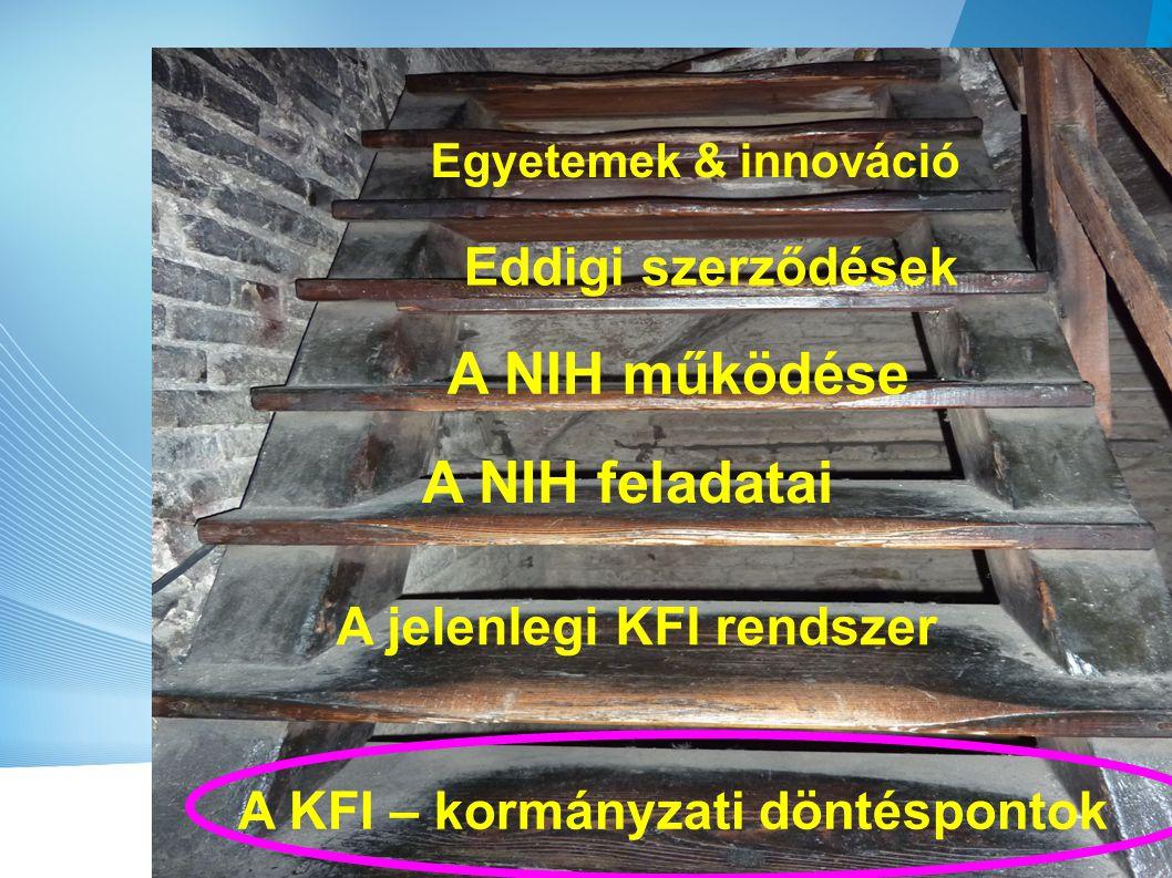 A változások listája A KFI pályázati stratégia, programtervezés, forrásallokáció, Monitoring, Obszervatórium Ügynökségi, inkubátor Ipari KFI vonzása és menedzselése Külkapcsolatok, EU és nem-EU AZ Alap kezelése az NFM- hez kerül, kivéve… 3.