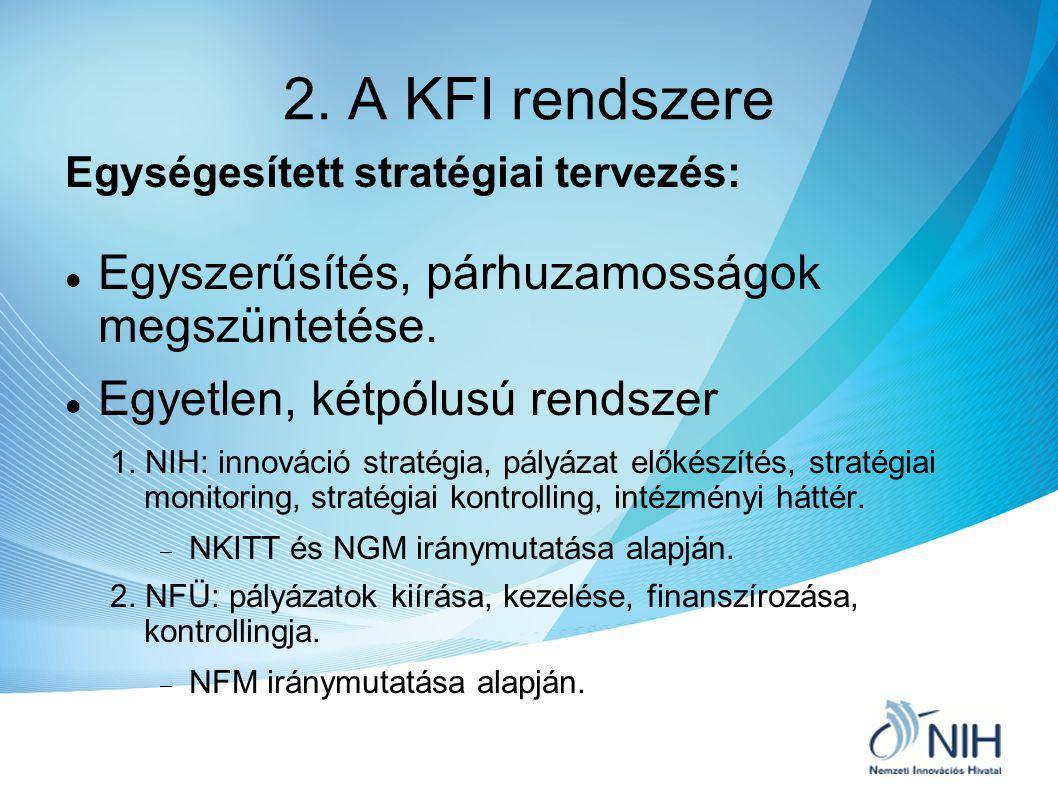 2. A KFI rendszere Egységesített stratégiai tervezés: Egyszerűsítés, párhuzamosságok megszüntetése. Egyetlen, kétpólusú rendszer 1. NIH: innováció str