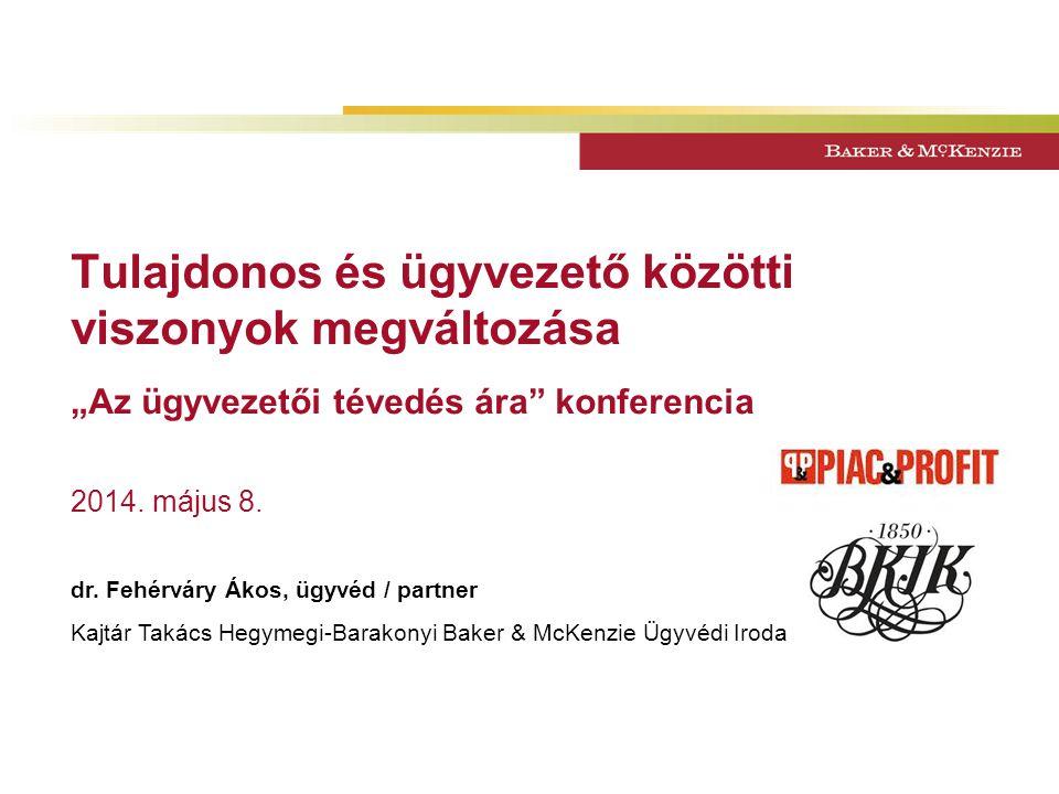 """Tulajdonos és ügyvezető közötti viszonyok megváltozása """"Az ügyvezetői tévedés ára konferencia 2014."""