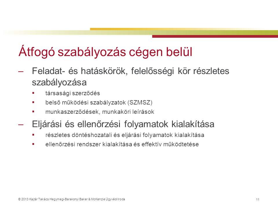 © 2013 Kajtár Takács Hegymegi-Barakonyi Baker & McKenzie Ügyvédi Iroda Átfogó szabályozás cégen belül –Feladat- és hatáskörök, felelősségi kör részletes szabályozása  társasági szerződés  belső működési szabályzatok (SZMSZ)  munkaszerződések, munkaköri leírások –Eljárási és ellenőrzési folyamatok kialakítása  részletes döntéshozatali és eljárási folyamatok kialakítása  ellenőrzési rendszer kialakítása és effektív működtetése 11