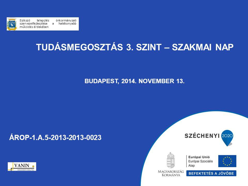 TUDÁSMEGOSZTÁS 3. SZINT – SZAKMAI NAP BUDAPEST, 2014. NOVEMBER 13. ÁROP-1.A.5-2013-2013-0023 Szikszó település önkormányzati szervezetfejlesztése a ha