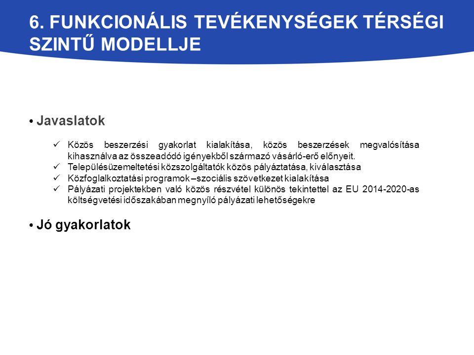6. FUNKCIONÁLIS TEVÉKENYSÉGEK TÉRSÉGI SZINTŰ MODELLJE Javaslatok Közös beszerzési gyakorlat kialakítása, közös beszerzések megvalósítása kihasználva a