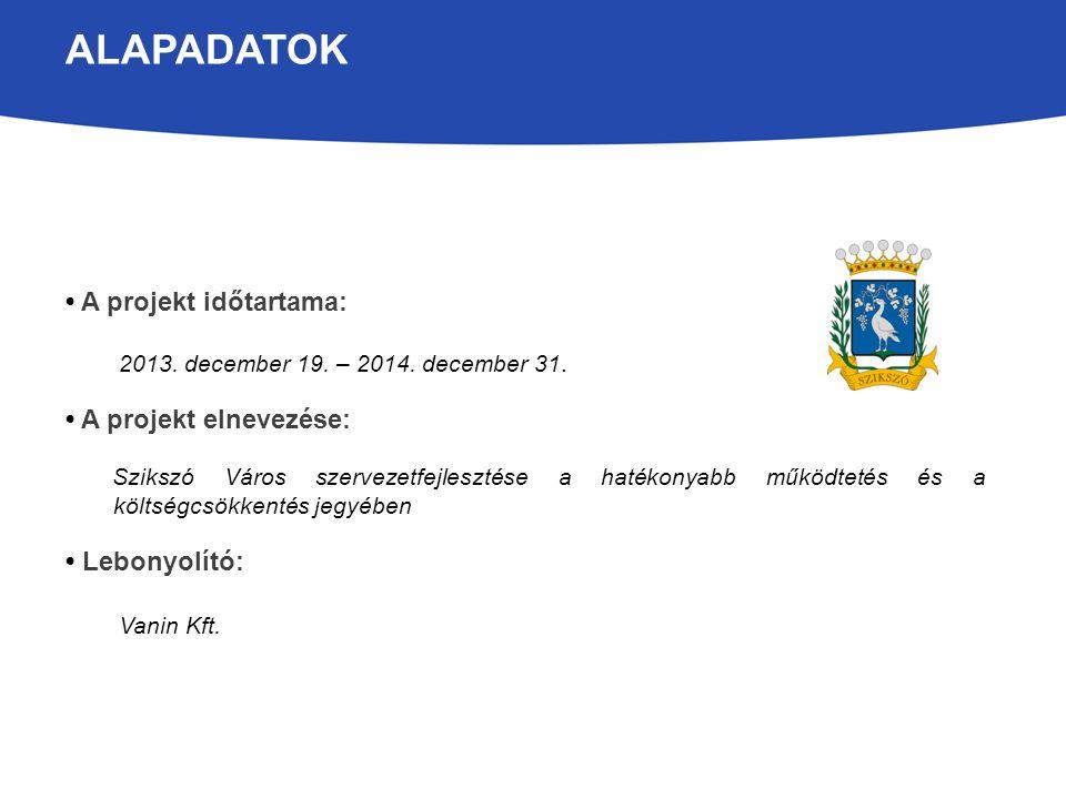 ALAPADATOK A projekt időtartama: 2013. december 19. – 2014. december 31. A projekt elnevezése: Szikszó Város szervezetfejlesztése a hatékonyabb működt