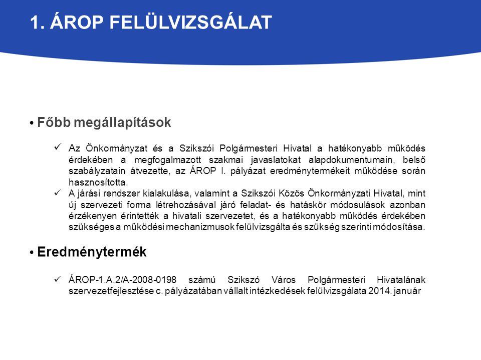 1. ÁROP FELÜLVIZSGÁLAT Főbb megállapítások A z Önkormányzat és a Szikszói Polgármesteri Hivatal a hatékonyabb működés érdekében a megfogalmazott szakm
