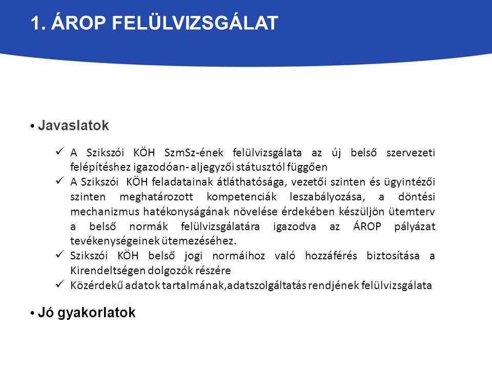 1. ÁROP FELÜLVIZSGÁLAT Javaslatok A Szikszói KÖH SzmSz-ének felülvizsgálata az új belső szervezeti felépítéshez igazodóan- aljegyzői státusztól függőe