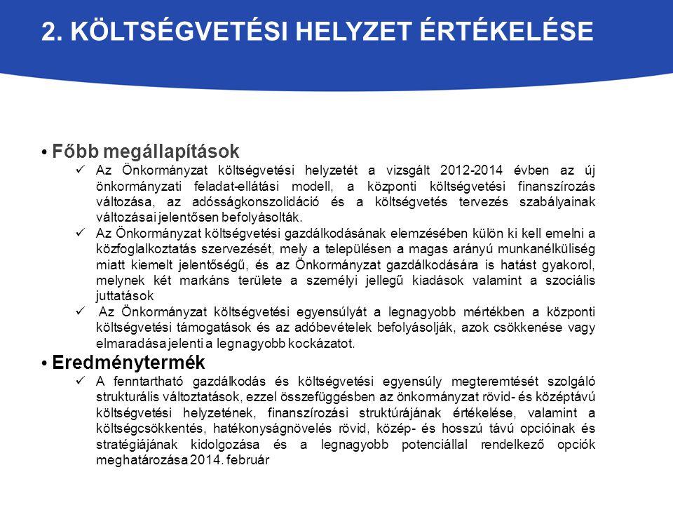 2. KÖLTSÉGVETÉSI HELYZET ÉRTÉKELÉSE Főbb megállapítások Az Önkormányzat költségvetési helyzetét a vizsgált 2012-2014 évben az új önkormányzati feladat