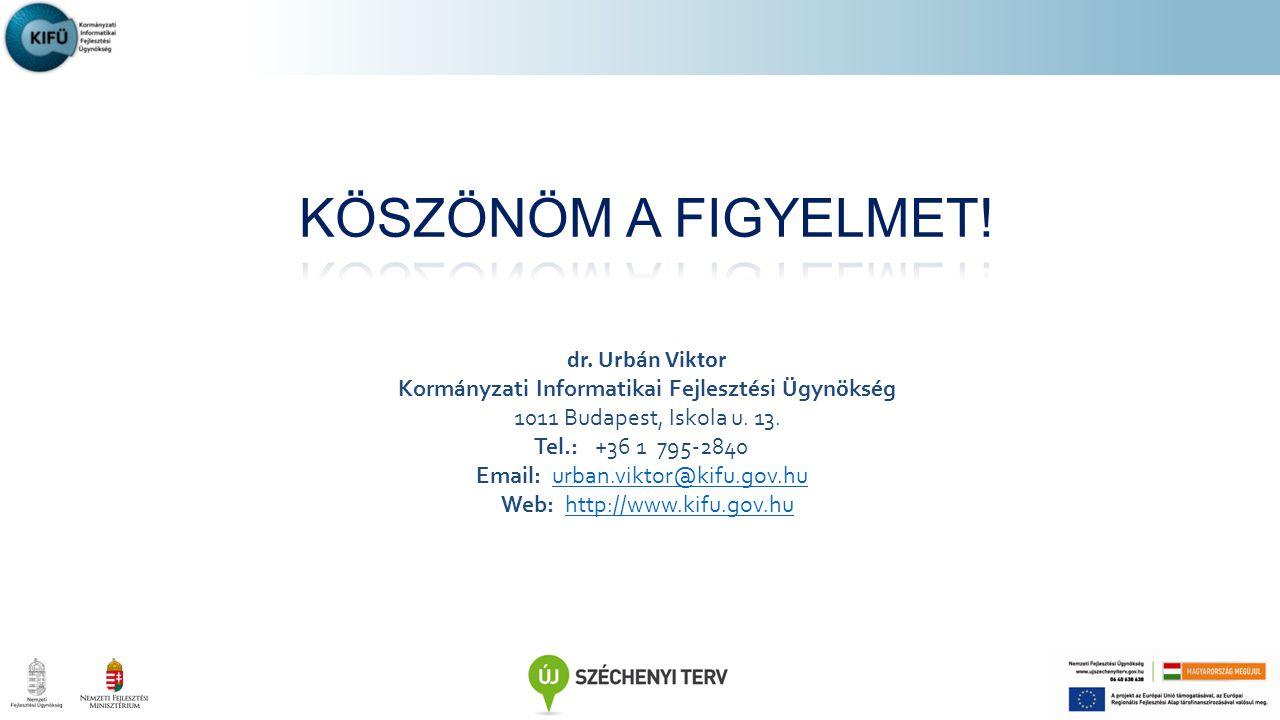dr. Urbán Viktor Korm á nyzati Informatikai Fejleszt é si Ü gyn ö ks é g 1011 Budapest, Iskola u. 13. Tel.: +36 1 795-2840 Email: urban.viktor@kifu.go