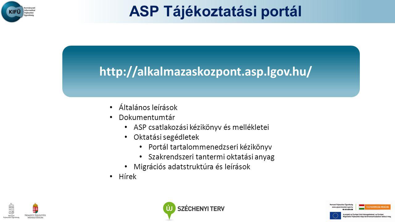 http://alkalmazaskozpont.asp.lgov.hu/ ASP Tájékoztatási portál Általános leírások Dokumentumtár ASP csatlakozási kézikönyv és mellékletei Oktatási segédletek Portál tartalommenedzseri kézikönyv Szakrendszeri tantermi oktatási anyag Migrációs adatstruktúra és leírások Hírek