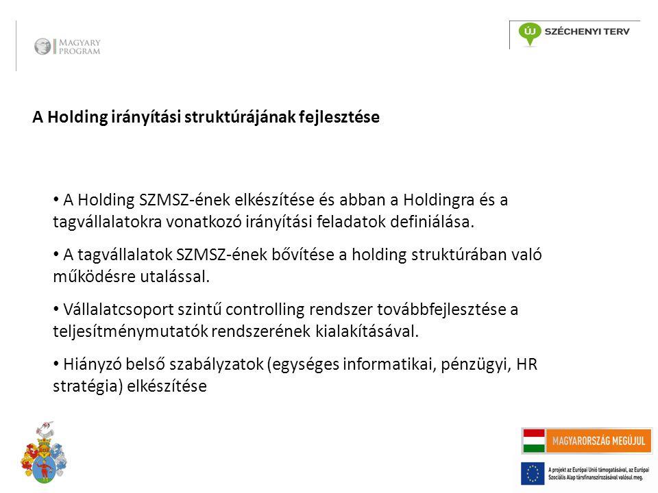 A Holding irányítási struktúrájának fejlesztése A Holding SZMSZ-ének elkészítése és abban a Holdingra és a tagvállalatokra vonatkozó irányítási felada