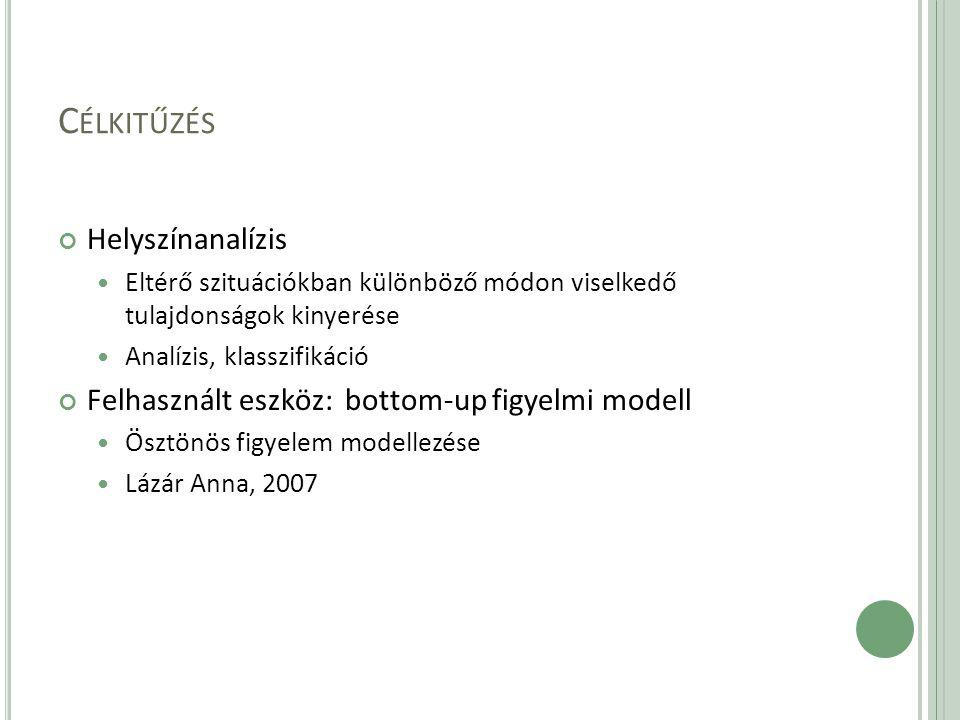 C ÉLKITŰZÉS Helyszínanalízis Eltérő szituációkban különböző módon viselkedő tulajdonságok kinyerése Analízis, klasszifikáció Felhasznált eszköz: bottom-up figyelmi modell Ösztönös figyelem modellezése Lázár Anna, 2007