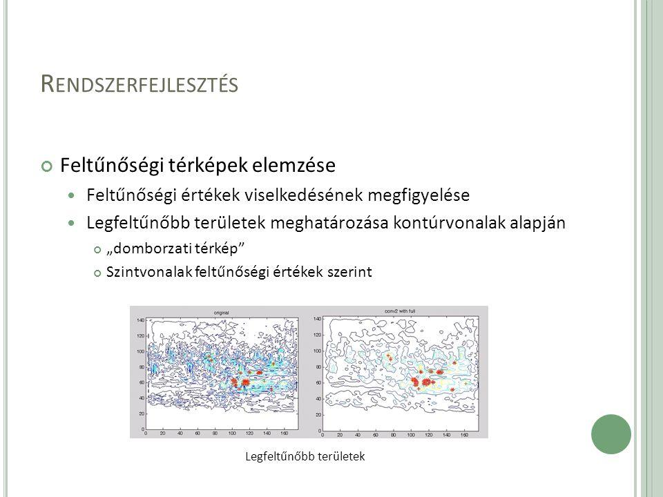 """R ENDSZERFEJLESZTÉS Feltűnőségi térképek elemzése Feltűnőségi értékek viselkedésének megfigyelése Legfeltűnőbb területek meghatározása kontúrvonalak alapján """"domborzati térkép Szintvonalak feltűnőségi értékek szerint Legfeltűnőbb területek"""