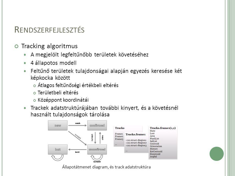 R ENDSZERFEJLESZTÉS Tracking algoritmus A megjelölt legfeltűnőbb területek követéséhez 4 állapotos modell Feltűnő területek tulajdonságai alapján egyezés keresése két képkocka között Átlagos feltűnőségi értékbeli eltérés Területbeli eltérés Középpont koordinátái Trackek adatstruktúrájában további kinyert, és a követésnél használt tulajdonságok tárolása Állapotátmenet diagram, és track adatstruktúra