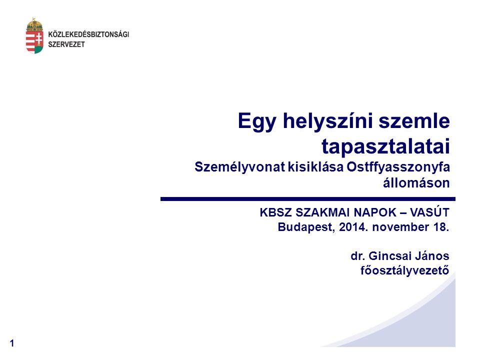 1 KBSZ SZAKMAI NAPOK – VASÚT Budapest, 2014. november 18. dr. Gincsai János főosztályvezető Egy helyszíni szemle tapasztalatai Személyvonat kisiklása