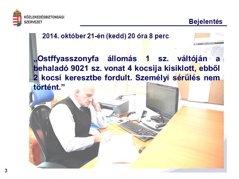 """3 Bejelentés 2014. október 21-én (kedd) 20 óra 8 perc """"Ostffyasszonyfa állomás 1 sz. váltóján a behaladó 9021 sz. vonat 4 kocsija kisiklott, ebből 2 k"""