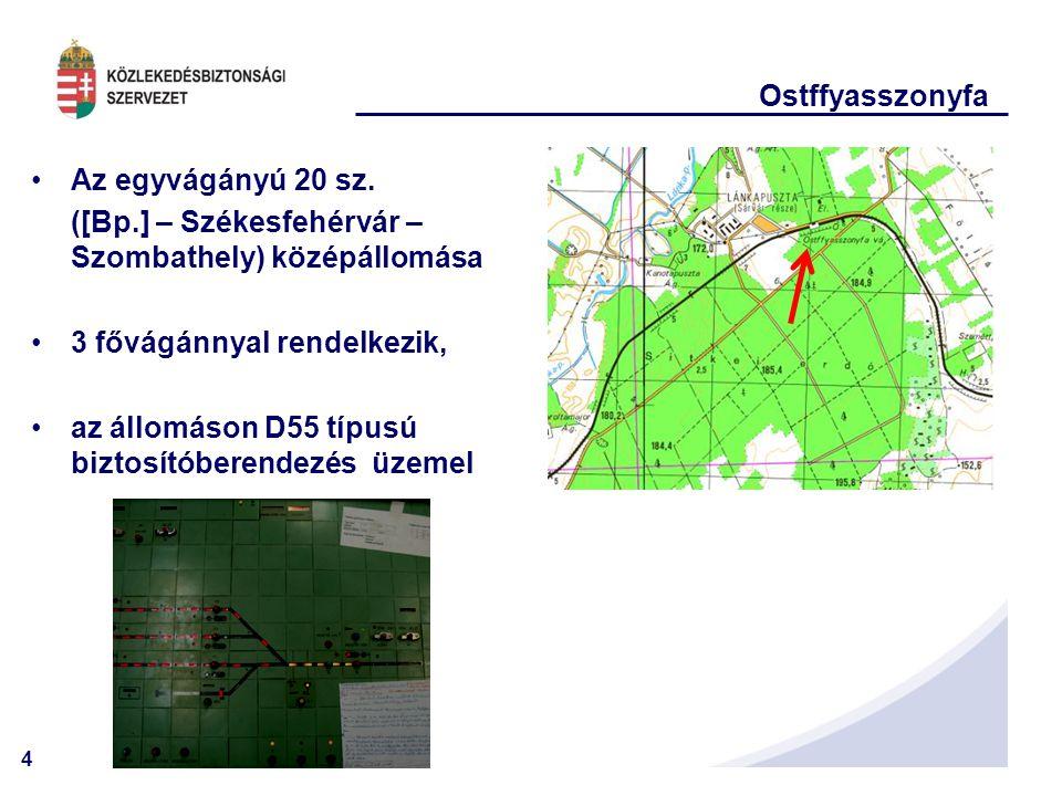 4 Ostffyasszonyfa Az egyvágányú 20 sz. ([Bp.] – Székesfehérvár – Szombathely) középállomása 3 fővágánnyal rendelkezik, az állomáson D55 típusú biztosí