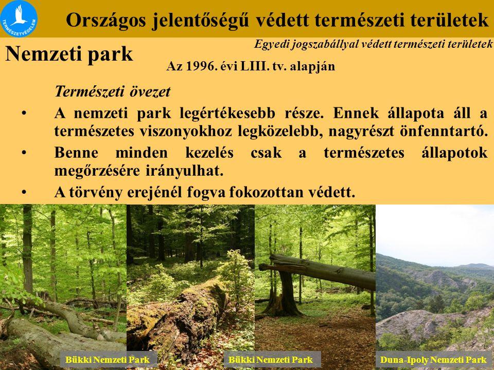 Országos jelentőségű védett természeti területek Az 1996. évi LIII. tv. alapján Természeti övezet A nemzeti park legértékesebb része. Ennek állapota á