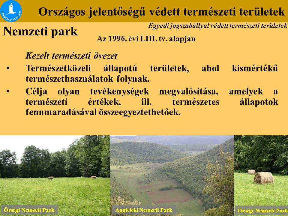 Országos jelentőségű védett természeti területek Az 1996. évi LIII. tv. alapján Kezelt természeti övezet Természetközeli állapotú területek, ahol kism