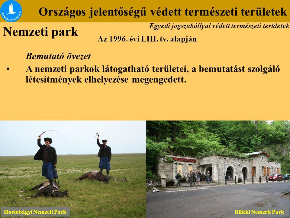 Országos jelentőségű védett természeti területek Az 1996. évi LIII. tv. alapján Bemutató övezet A nemzeti parkok látogatható területei, a bemutatást s