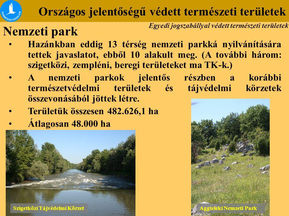 Országos jelentőségű védett természeti területek Szigetközi Tájvédelmi Körzet Aggteleki Nemzeti Park Hazánkban eddig 13 térség nemzeti parkká nyilvání