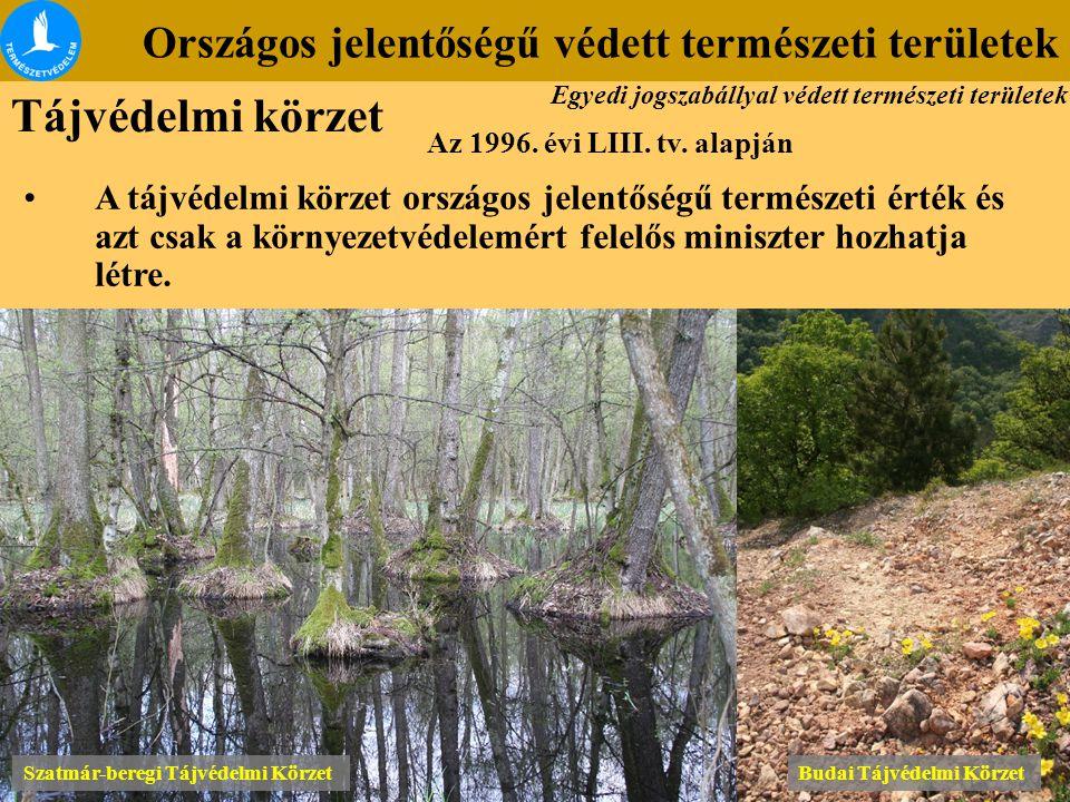 Országos jelentőségű védett természeti területek Szatmár-beregi Tájvédelmi Körzet Budai Tájvédelmi Körzet Az 1996. évi LIII. tv. alapján A tájvédelmi