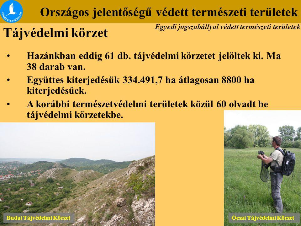 Országos jelentőségű védett természeti területek Budai Tájvédelmi Körzet Ócsai Tájvédelmi Körzet Hazánkban eddig 61 db. tájvédelmi körzetet jelöltek k