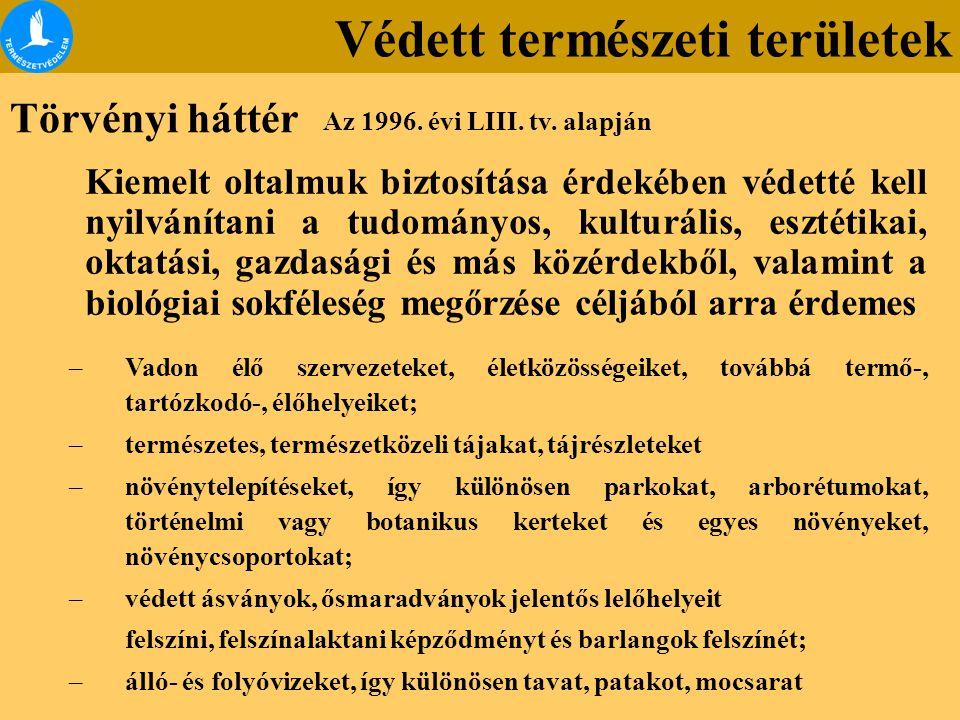 Országos jelentőségű védett természeti területek Budai Tájvédelmi Körzet Ócsai Tájvédelmi Körzet Hazánkban eddig 61 db.