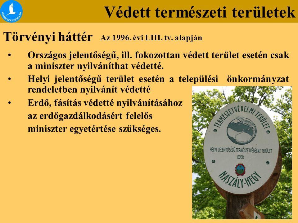 Védett természeti területek A védetté nyilvánítást kimondó jogszabály tartalmazza a terület: Jellegét Kiterjedését A védetté nyilvánítás indokát Természetvédelmi célját Helyrajzi számát Korlátozások alóli esetleges kivételt Természetvédelmi kezelési tervet az Európai Közösségek jogi aktusaiban meghatározott védettségi kategóriába tartozás tényét.