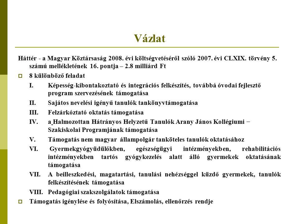 Vázlat Háttér - a Magyar Köztársaság 2008. évi költségvetéséről szóló 2007. évi CLXIX. törvény 5. számú mellékletének 16. pontja – 2.8 milliárd Ft  8