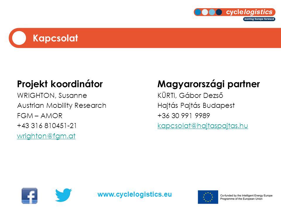 Projekt koordinátorMagyarországi partner WRIGHTON, SusanneKÜRTI, Gábor Dezső Austrian Mobility ResearchHajtás Pajtás Budapest FGM – AMOR+36 30 991 9989 +43 316 810451-21kapcsolat@hajtaspajtas.hukapcsolat@hajtaspajtas.hu wrighton@fgm.at Kapcsolat www.cyclelogistics.eu