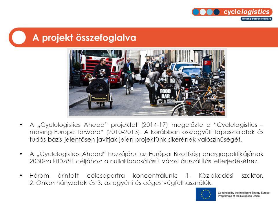 """A projekt összefoglalva A """"Cyclelogistics Ahead"""" projektet (2014-17) megelőzte a """"Cyclelogistics – moving Europe forward"""" (2010-2013). A korábban össz"""