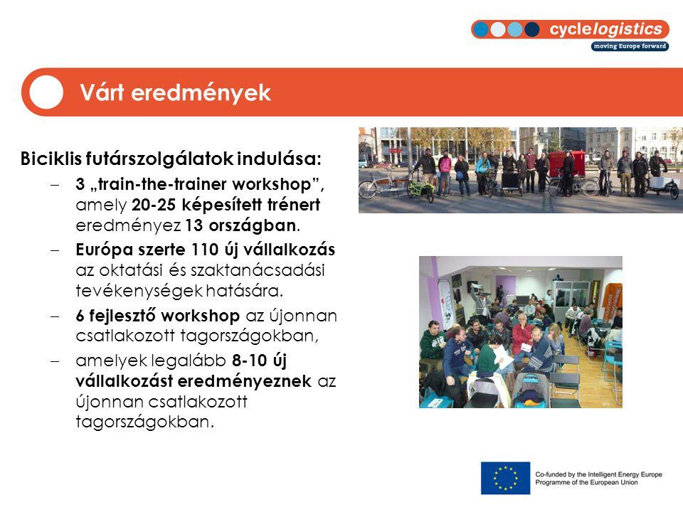 """Várt eredmények Biciklis futárszolgálatok indulása:  3 """"train-the-trainer workshop , amely 20-25 képesített trénert eredményez 13 országban."""